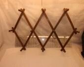 Wooden Accordion Peg Rack ~ Jewelry Organizer ~ Hat Rack ~ Mug Rack ~ Expandable ~ Wall Organizer ~ Collapsible Peg Rack