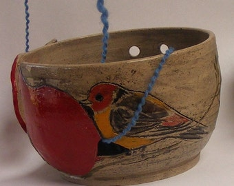 Bird Yarn bowl with Red Pomegranate