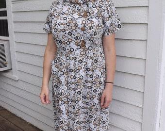 Vintage 60s Mod Print Dress Cotton 45 Bust XL Plus
