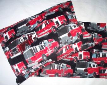 Firetruck Fleece Pillowcase.Your choice of single or 2 piece set. Very Soft,Huggable Fleece Pillow Cover