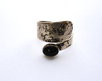 Vintage Onyx and Sterling Ring Sz 7.25