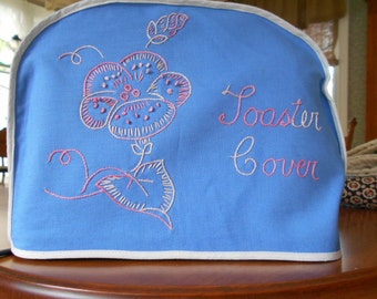 Vintage Retro Toaster Cover Blue with Embroidery