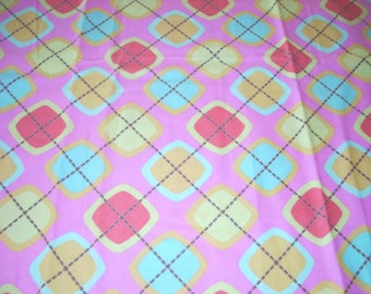 """Bright squares on hot pink Flannel Fabric  - 43"""" wide - sold by the yard"""