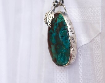 Unique Southwestern Feather Parrot Wing Chrysocolla, Long Necklace Pendant, Sterling Silver, Layering Necklace