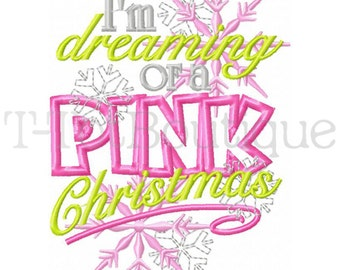 SAMPLE SALE - I'm Dreaming of a Pink Christmas Embroidered Shirt for Girls