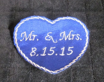 Something Blue - Bride Wedding Labels - His and Her HEARTS - Custom Embroidery