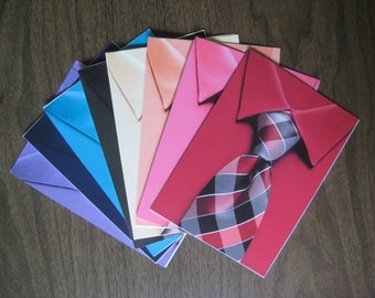 Shirt and Tie cards - pack of 8 assorted - recalimed paper
