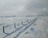 Snow Landscape - Original Snow Painting - Dutch Landscape Painting - Nancy Van den Boom Painting - Winter Painting - 60 x 80 cm / 26 x 31 ""