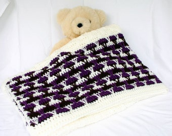 Crochet afghan throw blanket off white purple brown cream textured bedding couch lap home decor striped long stitches washable winter cover