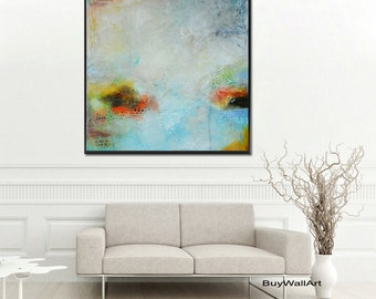 blue painting,blue print, green blue abstract painting,blue abstract art, yellow giclee print,huge painting, large print, canvas print