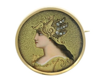 On Sale Victorian jewelry - enamel pin antique diamonds - goddess portrait painting - round brooch
