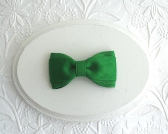 "Christmas Hair Bow, Emerald Green 3"" Simple Toddler Girls Hair Bow"