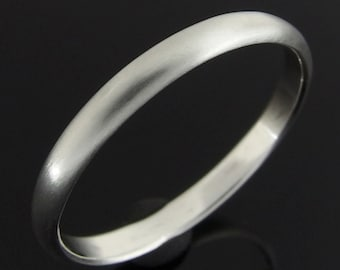 Half Round Sterling Silver Band Ring, Sterling Silver Ring, Silver Wedding Ring, Silver Wedding Band, 2.4 x 1.2 mm, Satin Finish