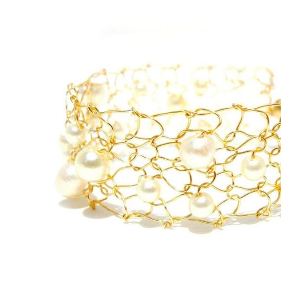 Pearl Cuff Bracelet Delicate Bracelet Thin Cuff Bracelet Bridal Cuff Gold Wedding Bracelet Ivory Pearl Bracelet