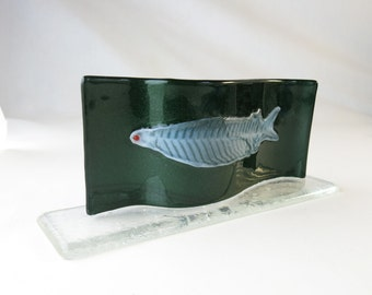 Tarpon Leptocephalus Fish Larva Fused Glass Sculpture