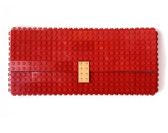 Dark red clutch purse with real gold plated elements made with LEGO® bricks FREE SHIPPING purse handbag legobag trending fashion lego
