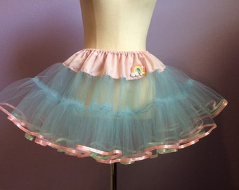 Fairy Kei style tutu sweet pastel petticoat pink and blue OOAK
