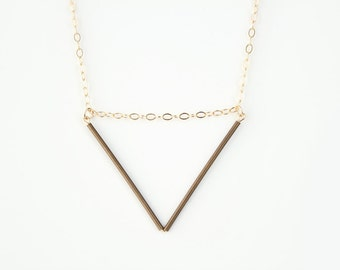 Long Brass V Necklace - 30 inch