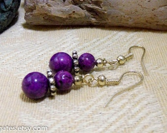 Purple Jade Silver Dangle Earrings