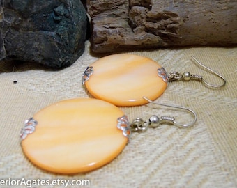 Peach Mother Of Pearl Shell Silver Dangle Earrings