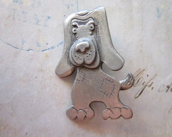 vintage METZKE dog brooch - signed dog pin