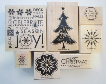 7 rubber stamps - Christmas - Celebrate JOY Tis the Season, snowflakes, for you, Christmas Tree - Merry Christmas - Stampin Up