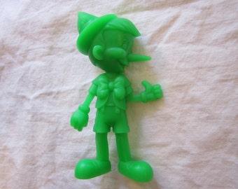 vintage Marx PINOCCHIO figurine - 6 inches, green, monochromatic - circa 1972 - Louis Marx & Co