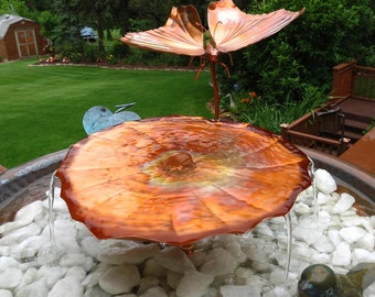 Copper Garden Art Garden Fountain Birdbath Baby Butterfly & Lily Pad Copper Fountain Container Style