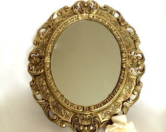 Ornate Oval Gold Mirror Hollywood Regency Gold Baroque wall mirror