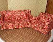 Dollhouse Miniature 1:12 Sofa and Chair