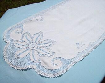 Embroidered Table Runner, Blue Table Runner, Vintage Table Runner, Floral Table Runner, Hand Embroidered, Long Table Runner