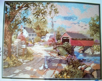 Cross Stitch Kit, Lookes Complete, Beautiful Country Scene, Canvas, Floss, Diagram, Instructions, Needle