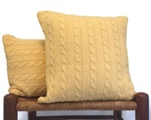 Sweater Pillow Covers Cable Knitted Up Cycled Sweater Yellow