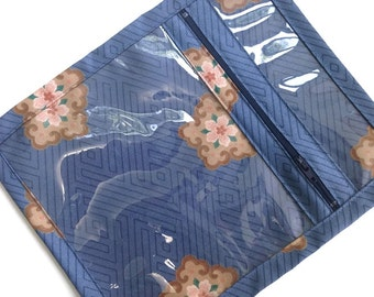 Small Blue Make Up Organizer Cosmetic Bag Jewelry Case Knitting Accessory Bag Vinyl Fabric Zipper Pouch Blue Floral Fabric Sac