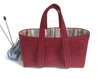 Small Project Knitting Bag Red Upholstery Tote