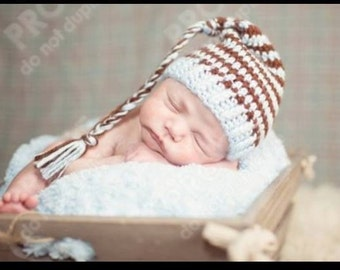 Made to order newborn stocking cap: brown and baby blue