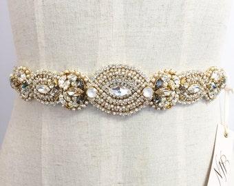 RESERVED- Gold Crystal Bridal Belt- Custom Bridal Sash- Rhinestone, Sequin and Pearl Bridal Sash