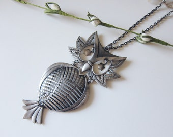 Large Star Eyed Owl Necklace-ON SALE