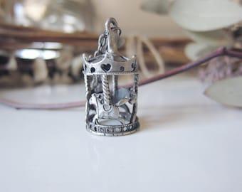Antique Silver Tone Carousel 3D Necklace