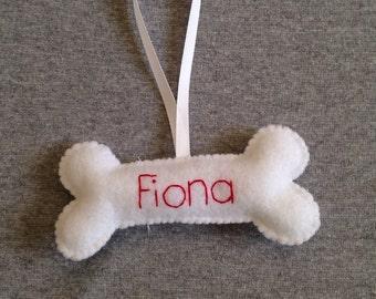 Dog Bone Christmas Ornament, Personalized