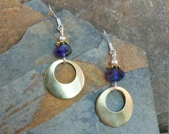 Purple Gold Hoops Sterling Silver Earrings, Purple Gold Silver Hoop Earrings, Purple Sterling Silver Hoop Earrings, Gold Hoop Earrings