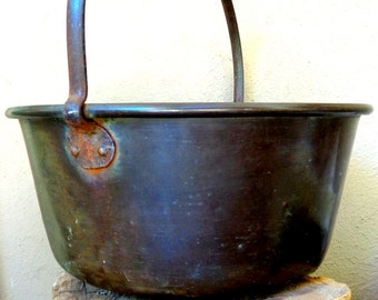 FREE Shipping Huge Antique Copper Cauldron Halloween Primitive Pots Apple Butter Kettle