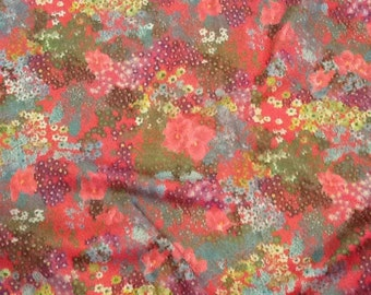 Vintage Floral Knit Fabric Retro Flower Power Hot Pink