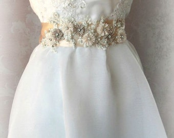 Romantic Blush Bridal Sash with Ivory Lace, Crystals and Pearls, Pale Peach and Champagne Bridal Belt, Wedding Belt - MIRANDA