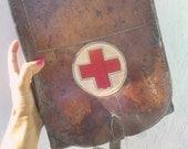 Red Cross First Aid Messenger Bag Leather 1920 Original War Help Nurse Bag