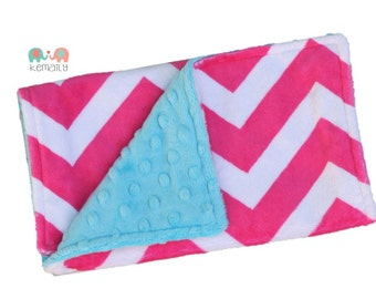Burp Cloths Hot Pink Chevron on Turquoise Double Minky Burp Cloth, Baby Shower Gift, Newborn Gift, Feeding, Nursing, New Mom, Essential