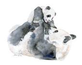 Panda Bears Watercolor Painting Print Giclee - 14 x 11 - Nursery Art - Baby Animal Great Panda