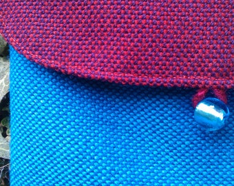 purple red and blue wool shoulder bag