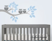 Nursery Wall Decals - Tree wall decal with owls. Tree wall decal for nursery. All animal decals included.