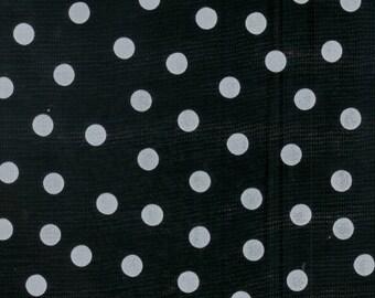 Black Polka Dot Oilcloth - 1 yard